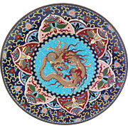 Antique DRAGON Cloisonne Charger
