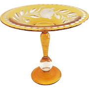 Yellow Cut to Clear Crystal Compote