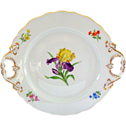 REDUCED Hand Painted Meissen Iris Decorated Server 12""