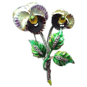 SALE Beautiful German Enamel on Sterling Double Pansy Brooch Pin