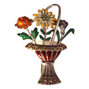 SALE German Art Deco Enamel on Sterling Basket of Flowers Pin