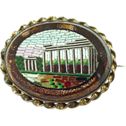 Antique Micromosaic Mosaic Brooch/Pin of Ruins