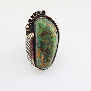 SALE Very large Native American Turquoise and Sterling Silver Ring-Sz 9 1/2