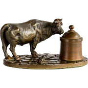 Antique Victorian Bronze Figural Bull & Frog Inkwell