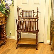 Circa 1880 Victorian Walnut & Wicker Ornate Magazine Stand