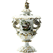 Magnificent  Herend  Hungary  Large  Covered  Potpourri  Urn  With  Bird  Motif
