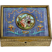 Circa 1900 Antique French Scenic Enameled Jewery Box
