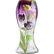Circa 1910 Antique Enameled Mont Joye Vase With Pansy Motif
