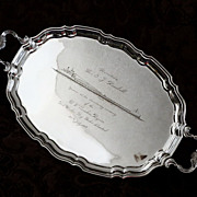 Birks Heavy Presentation  Sterling Silver Tray With Historical Shipping  Provenance