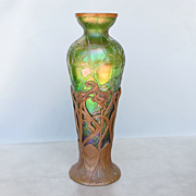 Circa 1890 Art Nouveau Kralik Vase In Bronze Armature