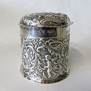 Circa 1900 Art Nouveau Sterling Box With Cherubs & Birds