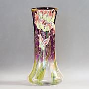 Circa 1890 Enameled Moser Parrot Tulip Vase
