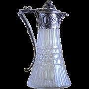Magnificent Circa 1880 Cut Glass Tankard With Ornate Silver Plate Decor