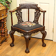 Circa 1880 Transitional Chippendale Victorian Needlepoint Corner Chair