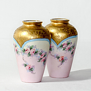 Pair Vintage Artist Signed Hand Painted Porcelain Vases