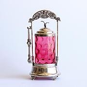 Antique Victorian Cranberry Pickle Castor