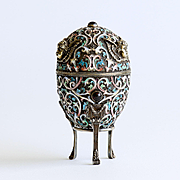 Rare Circa 1860 Museum Quality Artist Signed Russian Silver Enameled Egg