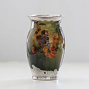 Rare Antique 1892 Museum Quality Artist Signed Rookwood Sterling Overlay Vase
