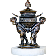 Circa 1880 Victorian Figural Cherub Bronze Inkwell