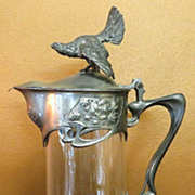 Circa 1900 Jugendstil Art Nouveau Monumental Pitcher With Wood Grouse