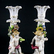 Vintage Pair Of Signed Sitzendorf German Porcelain Figural Cherub Candlesticks