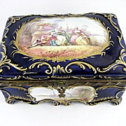 SOLD Fantastic Vintage  Cobalt Blue Porcelain Box With Hand Painted French Scenes