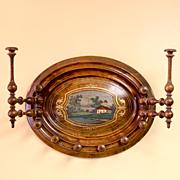 Circa 1880 Victorian Walnut Hanging Scenic Hat Rack