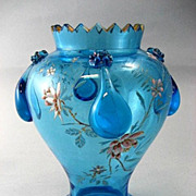 Circa  1890  Antique  Moser  Ice  Blue  Enameled  Vase