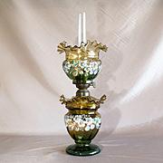 Rare Circa 1880 Antique Victorian Coralene Oil Lamp