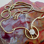 Custom Circa 1960's Vintage 14K Diamond Necklace