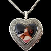 Vintage Silver Heart Shaped Portrait Box Necklace