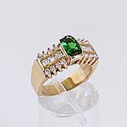 Lady's Custom Vintage 14K Chrome Diopside & Diamond Ring