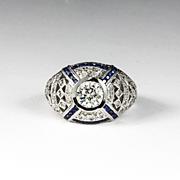 Magnificent Lady's 14K Custom Diamond & Sapphire Ring