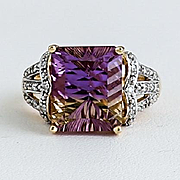 Lady's Vintage Gold Ametrine & Diamond Ring