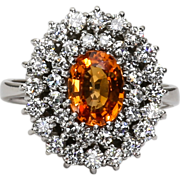 Vintage Custom Lady's 14K Diamond & Spessartite Garnet Ring