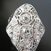 Antique Lady's Platinum Edwardian Diamond Ring