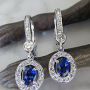 Lady's 14K Sapphire & Diamond Earrings