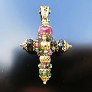 Vintage 18K Tourmaline Cross