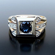 Gent's Handsome Vintage 14K Sapphire & Diamond Ring