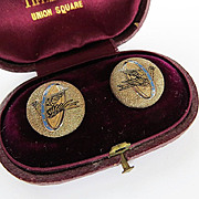 Rare Set Of Antique 14K Enameled Collar Buttons