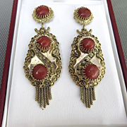 Circa 1900 Antique Etruscan Style 14K Coral Tassle Earrings