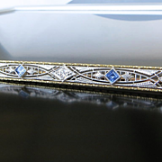 Lady's 14K & Platinum Circa 1910 Sapphire & Diamond Brooch