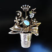 Rare Antique Victorian 14K Hatpin & Thimble Brooch