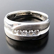 Handsome Vintage Gent's 14K W/G Diamond Band Ring