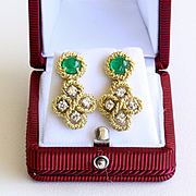 Lady's Vintage 18K Emerald & Diamond Earrings