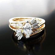 Lady's Vintage 14K Diamond Wedding Set Rings
