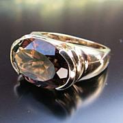 Lady's Art Deco 14K  Smoky Quartz Ring