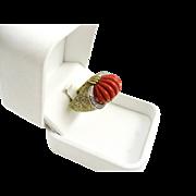 Vintage Art Deco Lady's 18k Carved Coral & Diamond Ring