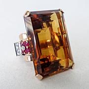 SOLD Lady's Art Deco 14K Rose Gold 92 Carat Citrine Ring