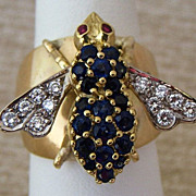 Fantastic Lady's 18K Sapphire Diamond & Ruby Bee Ring